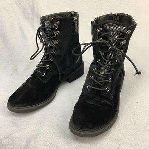 Sam Edelman Dawson Blk Velvet Studded Combat Boots